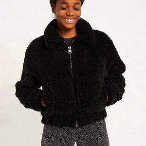 Urban outfitters Sherpa teddy fuzzy black zip coat